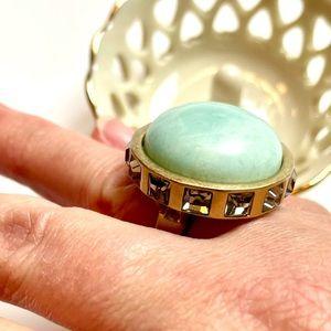 Lia Sophia Statement Ring 6.5 Gold Green Stone